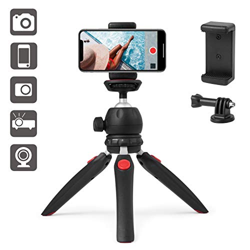 Polarduck Mini Treppiede Smartphone, Treppiede Fotocamera, Treppiedi Cellulare per iPhone/Samsung, Testa a sfera di rotazione a 360° & Gambe Estensibili con Supporto per Telefono Universale e GoPro