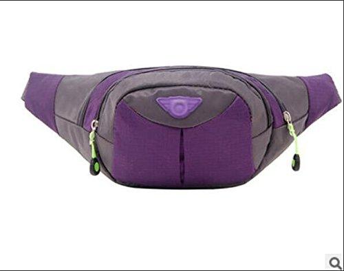 ZYT Herren und Damen Handy Tasche koreanischen Mode outdoor Nylon Geldbörse wasserdichten Beutel Purple