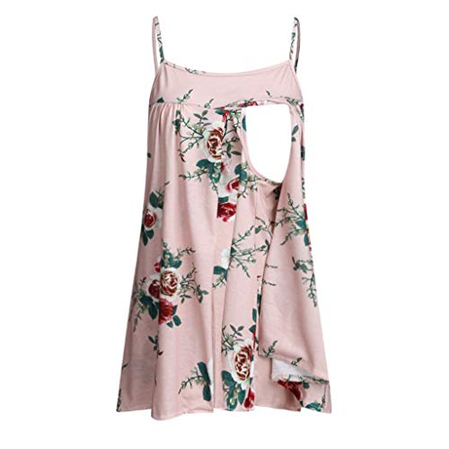 ger Nusring Mutterschaft ärmellose Träger Rüschen Print Blumen Short Shirt Tops Umstandsrock Damen Tops schwarz, rosa, hellblau ()