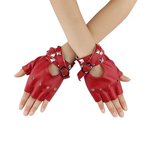 Cusfull Punk Handschuhe Armband mit Nieten Halbfinger aus Kunstleder Kostüm Zubehör Rock Gothic Stil (Rot)