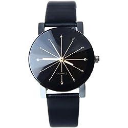 JACKY Women Quartz Dial Clock Leather Wrist Watch Round Case