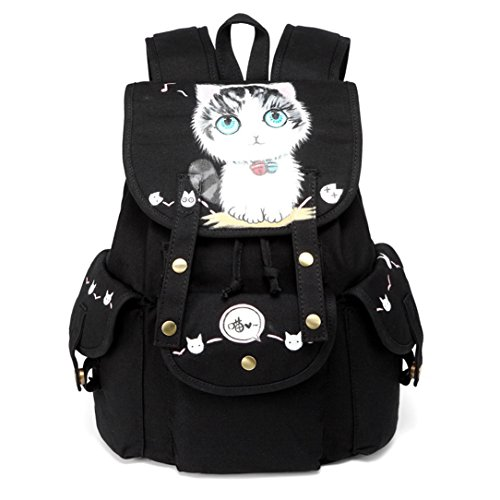 2018New Canvas Backpack femmes Version coréenne du Style de mode de 100sac à dos de grande capacité Junior High School Students sac à dos caractéristiques Sacs peints à la ma