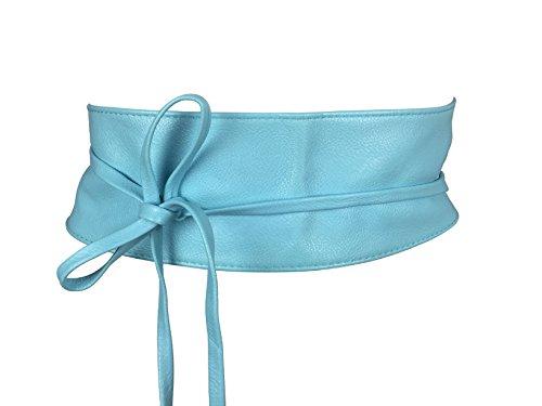 CALIYO Taillengürtel Taillen Gürtel Damen Gürtel für Damen Wickelgürtel Bindegürtel in modischen Farben One Size SA-46 (Hellblau) (Für Frauen Modische Gürtel)