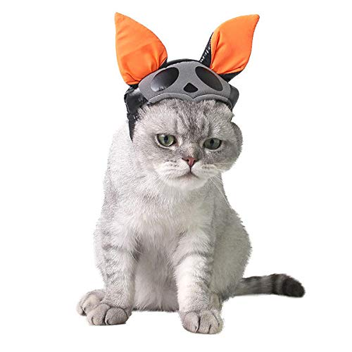 Kostüm Bat Cat - Homiego Halloween Katze Hexe Hat Pet Wizard mit Kopfbedeckungen Katzen & Kleine Hunde Party Kostüm Einheitsgröße, Cat Bat Hat,S