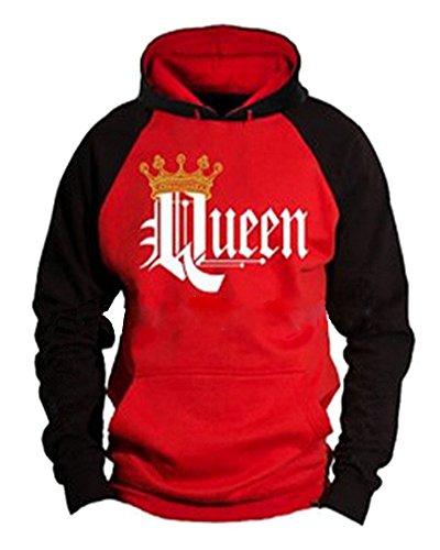 Minetom King Queen Aufdruck Sweatshirt Pärchenpullover Set Hoodie mit Kaiserkrone Hoodie Damen...