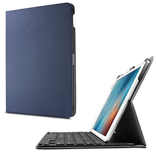 iPad Pro 9.7 Zoll Keyboard Hülle Case, mit Apple Pencil Halter,Infiland Bluetooth Tastatur Slim Fit Kunstleder Stand Tasche mit Hochwertige Abnehmbar Drahtlos Bluetooth Tastatur für Apple iPad Pro 9.7 Zoll (2016 Modell)(deutsches Tastaturlayout, QWERTZ) (mit Auto Schlaf / Wach Funktion)(Dunkleblau)