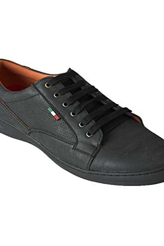 Duke Herren Übergröße groß hoch D555 Kunstleder Freizeit Schnürschuhe Schuhe Größen bis zu UK15 Schwarz
