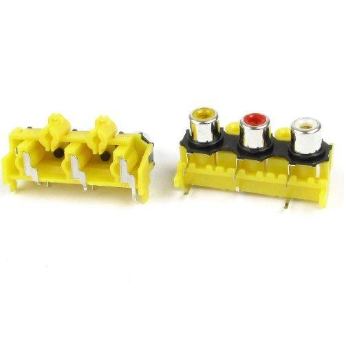 PCB mount AV Concentric Outlet 3 RCA-aansluiting Jack connectoren oranje 2Pcs Rca-jack Pcb Mount