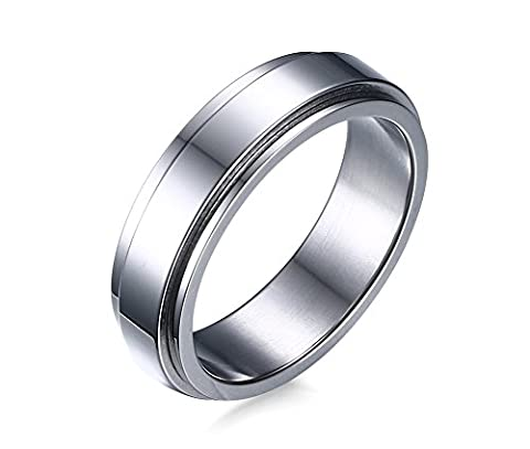 Vnox Men's Stainless Steel Simple Spinner Ring Possession Wedding Band Silver,6mm Width,UK Size R