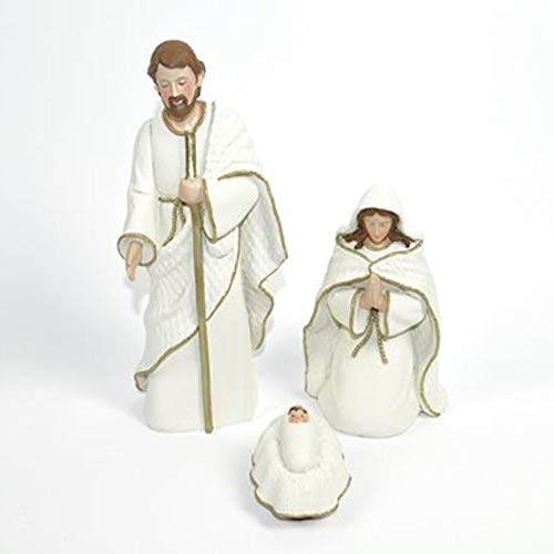 Natività in ceramica bianco statue addobbi natalizi presepe giuseppe maria gesu''