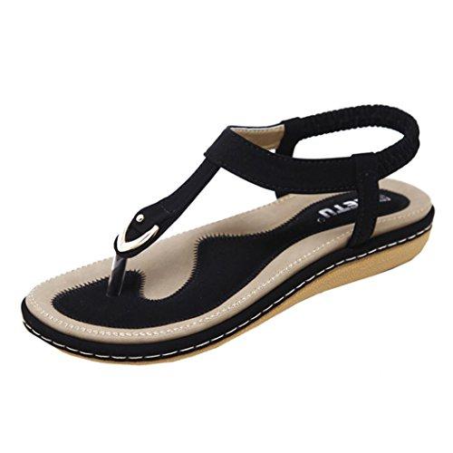 Sandalen Damen Kolylong® Frauen Retro Bohemia Sandalen Flache Sommerschuhe Sandals PU Leder Outdoor Schuhe Roman Hausschuhe Zehentrenne Flip Flops Toe Separator (Schwarz, CN:36)