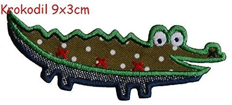 Ecusson brodé patch TrickyBoo - Crocodile 9x3cm patch thermocollant ecusson brodé à coudre pour Cadeau Avec Nom Accessoire Termoadesive Brodé Bébé de