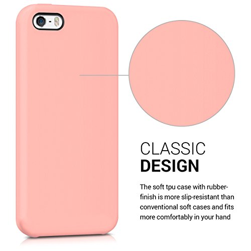 kwmobile Hülle für Apple iPhone SE / 5 / 5S - TPU Silikon Backcover Case Handy Schutzhülle - Cover klar Weltkarte Umriss Design Gold Transparent .Rosegold matt