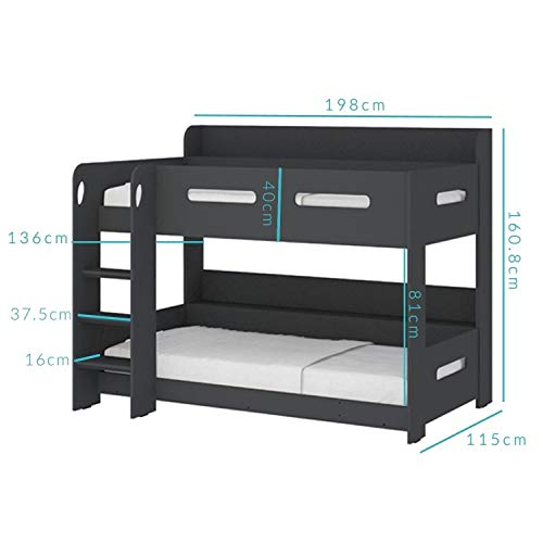 Sky Single Wooden Bunk Bed in Dark Grey - Ladder Can Be Fitted Either Side!