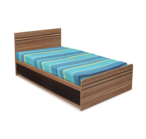@home by Nilkamal Mike Single Size Bed with Storage (Walnut)