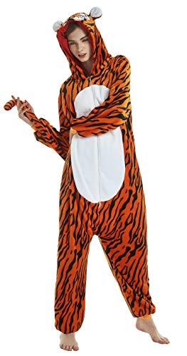 FunnyCos Erwachsene Strampelanzug Tier Pyjama Unisex Halloween Cosplay Kostüm Verrücktes Kleid Loungewear Tiger S