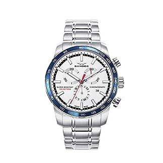 Sandoz 81461-07 Reloj Hombre Cuarzo Crono Suizo Acero Tamaño 42 mm Brazalete