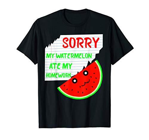 Wassermelone Bekleidung (Wassermelone Frucht Hausaufgaben Schüler Ausrede T-Shirt)
