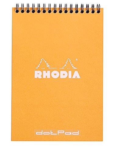 Rhodia 16503C - Bloc-notes con doppia spirale, formato A5, 80 g, 14,8 x 21 cm, 80 fogli con rigatura a puntini, 1 pezzo, colore: Arancio