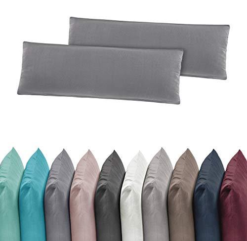 2er Pack Jersey Kissenbezug Kissenhülle Kissenbezüge 40x80 cm 100% Baumwolle Altrosa -