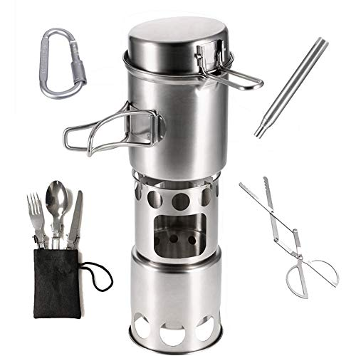 Zaoyun Camping Kocher Outdoor Holzofen Campingkocher Titanium/Edelstahl für Picknick Wandern BBQ (D) (Campingkocher Titanium)