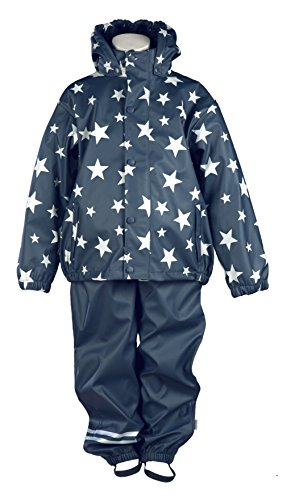 mikk-line Unisex Baby Jacke PU Rainwear-Set Regenhose und Regenjacke Wassersäule 8000, Blau (Deep Night (287) 284), 74