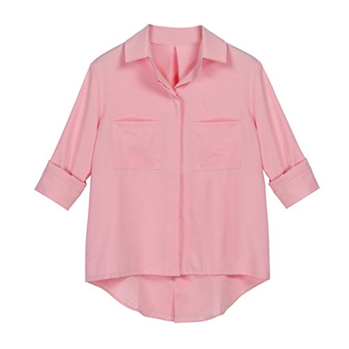 per locker strand bluse Damen lang t shirt mit Tasche mode sport Gemütlich Casual tops Frühling Lässig Oberteile (S, Rosa) (Soper Mädchen)