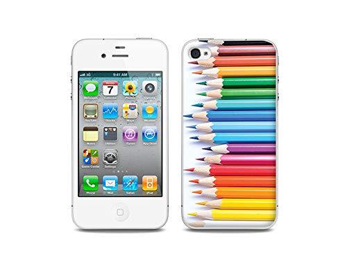 etuo Apple iPhone 4/4 S - Hülle, Silikon, Gummi Schutzhülle - Buntstifte