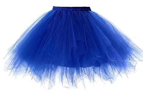 Poplarboy Damen Kurz 50er Vintage Petticoat Reifrock Mehrfarbengroß Unterröcke Braut Crinoline Ballett Blase Tutu Ball Kleid Underskirt Königsblau