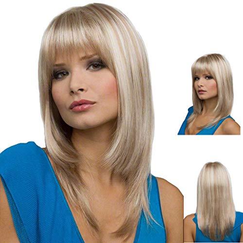 Oyedens Silber Lange Perücke Haare Kopfbedeckung Frisur Perücken Pony für Frauen Karneval Rick Perücke
