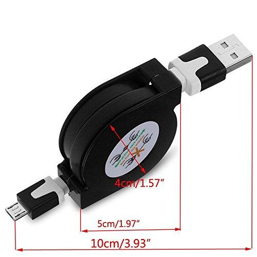 5Stück Multicolor ausziehbar Micro USB Flach Ladekabel/Datenkabel/Kabel für Android-Telefone (5x) - Bild 3