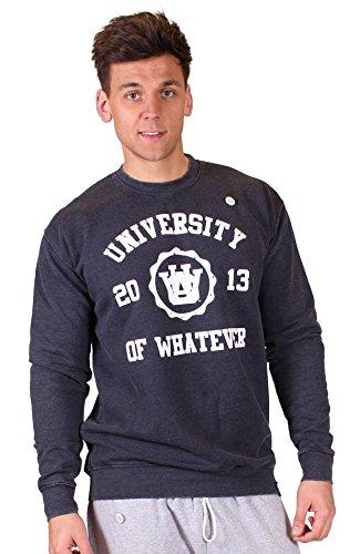 University of Whatever Männer Universität Oberteile mit rundem Ausschnitt Casual Rundhalspullover Casual Crewneck JH093 Mono Dept Marineblau Medium (Crewneck Distressed Blue)