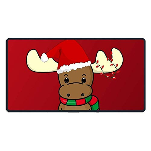 ASKSSD Happy Chirstmas Reindeer with Hat Mouse Pad Mat for Man Women