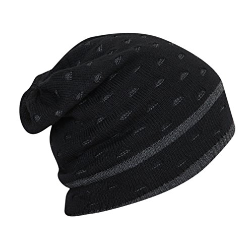 FabSeasons Unisex Black Acrylic Woolen Slouchy Beanie and Skull Cap for Winters