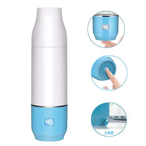 Rabbfay USB Aus Tragbar Baby Flaschenwärmer Mit Eingebaut 2550Mah Lithium Batterie, Reise Flasche Wärmer Elektrisch Baby Milch Wärmer Multifunktional Essen Wärmer,Blue