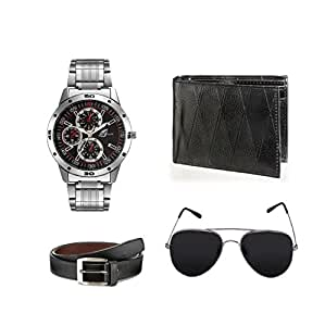Arum Analogue Black Dial Men Watch Combo with Wallet & Sunglass With Belt - AWWSGB-004