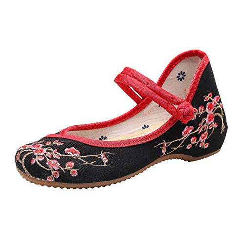 5f44e081f4ca6 Women Ladies Loafer Flats Platform Shoes Slip On Summer Sneakers Canvas  Plum National Style Embroidered Shoes 3Cm Black 7 UK