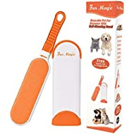 Fur Magic Pet Hair Remover Lint Brush With Self-Cleaning Base, Improved Handle, Double-sided Fur Brush with Travel Size Brush for Dog and Cat, Orange