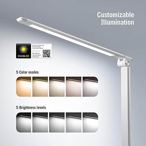 TaoTronics LED Schreibtischlampe Metall Tageslichtlampe, 5 Helligkeitsstufen und 5 Farbtemperaturen-3000K 3500K 4000K 5000K und 6000K, Ultradünne Alu, Blendfrei, Merkfunktion, USB-Ladeanschluss 5V 1A