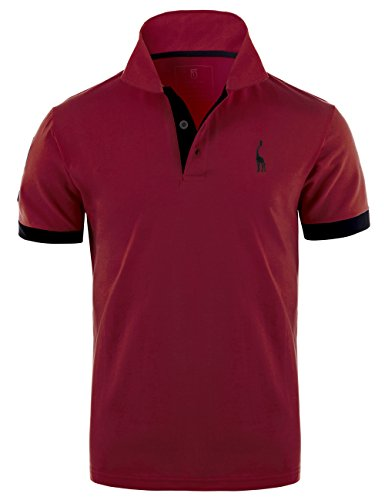 Glestore Homme Polo Golf Manche Courte Couleur Contrasté Shirt Giraffe (XL, WineRed)