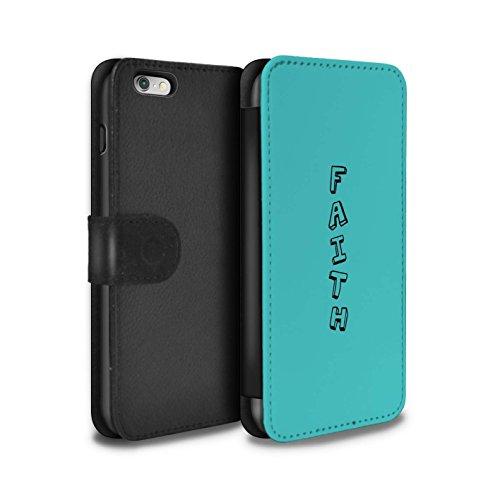 Stuff4 Coque/Etui/Housse Cuir PU Case/Cover pour Apple iPhone 6S+/Plus / Rose/Sourire Design / Mots Griffonnage Collection Bleu/Foi