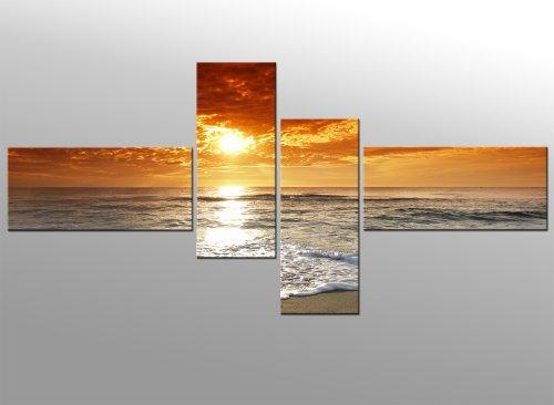 puesta-del-sol-140x65cm-4-partes-listo-tensa-bastidor-imagen-cuadros-en-lienzo