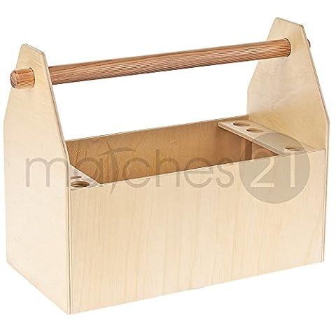 matches21 Werkzeugkiste Werkzeugkasten aus Holz Bausatz Werkset zum Werkzeug aufbewahren in Box