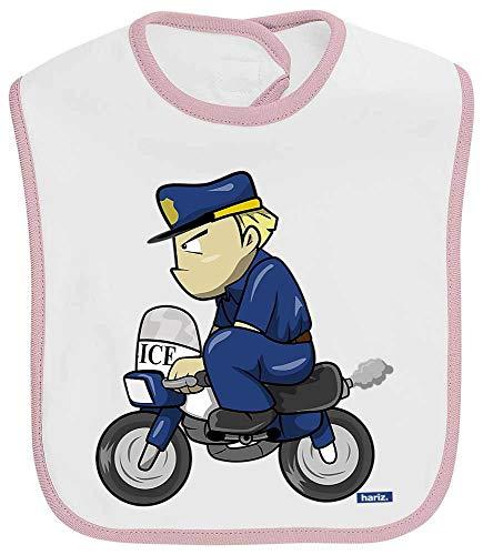 HARIZ Baby Lätzchen Kontrast Polizist Lustig Motorrad Polizei Cops Inkl. Geschenk Karte Weiß Baby Pink