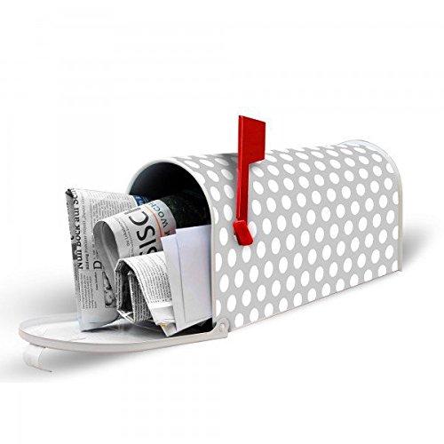 banjado – US Mailbox 17x22x51cm amerikanischer Briefkasten mit silber lackiertem Ständer und Motiv Punkte Grau - 3