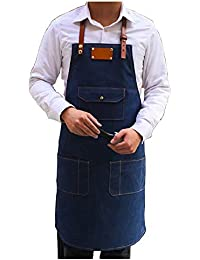 izielad Delantal vaquero con bolsillos para asar a la parrilla, delantales de cocina para hombres