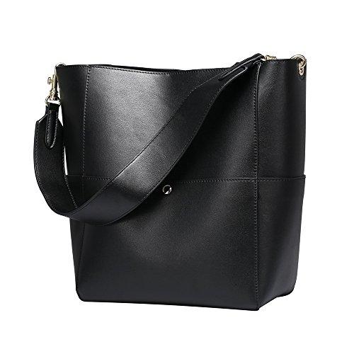 Mufly Frauen Art Vintage Echtes Leder Tote Schulterbeutel Schwarz Handtaschen Hobo Shopper Beuteltaschen (3-fach-shopper)