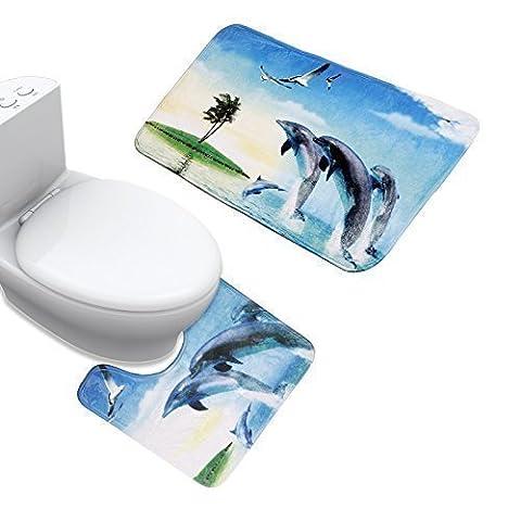 Uomere Lot de 2tapis de bain Tapis baignoire et wc Dauphin imprimé