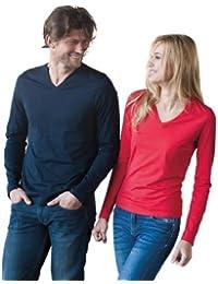 Ladies Langarm T-Shirt mit V-Ausschnitt