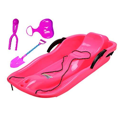 XGYUII Schnee-Schlitten Rodel Rodel Mit Abschleppseil Boot Schlitten Toy Roll Slider, für Sand Grasski Kinder Slippery Racer Downhill Sprinter,Rosa